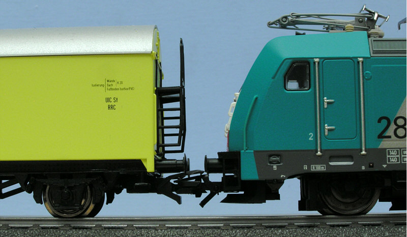 Loco coupled to freight car